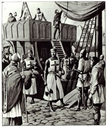 Richard I sets sail for the Holy Land by English School