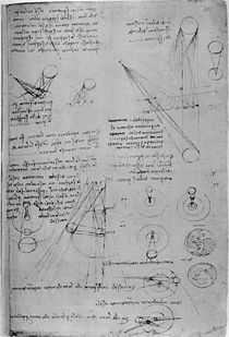 Astronomical diagrams, from the Codex Leicester by Leonardo Da Vinci