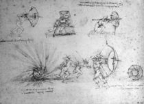 Study with Shields for Foot Soldiers and an Exploding Bomb von Leonardo Da Vinci