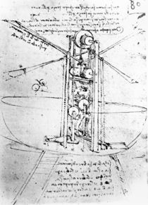 Vertically standing bird's-winged flying machine von Leonardo Da Vinci