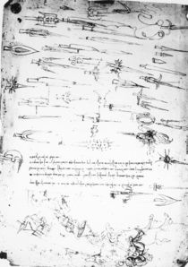 Sheet of studies of foot soldiers and horsemen in combat von Leonardo Da Vinci