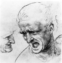 Studies for the heads of two soldiers in 'The Battle of Anghiari'