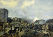 The French-Russian battle at Malakhov Kurgan in 1855 by Grigory Shukayev