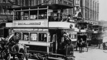 Trams in Manchester, c.1900 by English Photographer