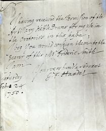 Letter from George Frederick Handel dated February 24th 1750 von George Frederick Handel
