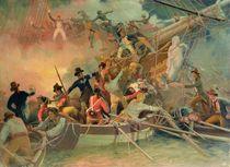 The English navy conquering a French ship near the Cape Camaro von English School