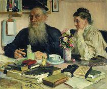 Leo Tolstoy with his wife in Yasnaya Polyana von Ilya Efimovich Repin
