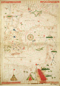 The Eastern Mediterranean, from a nautical atlas, 1520 by Giovanni Xenodocus da Corfu