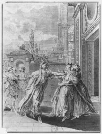 Orosmane killing Zaire, illustration from Act V of 'Zaire' by Voltaire von French School