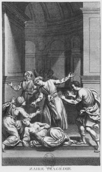 Orosmane killing Zaire, illustration from Act V of 'Zaire' by Voltaire by French School