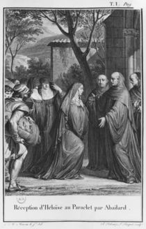 Abelard welcoming Heloise at Paraclete von Jean Michel the Younger Moreau