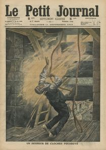 A bell ringer struck by lightning by French School