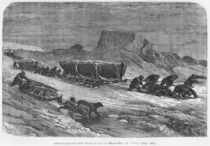 Pulling the sledges through the pack ice von Edouard Riou