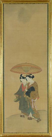 Two Lovers under an Umbrella by Toyonobu Ishikawa