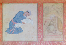 Portrait of Min Musavir giving a petition to Emperor Akbar by Indian School