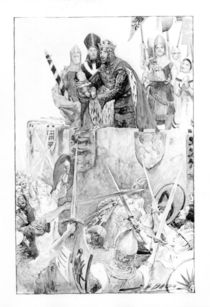 Edward I declaring his son Prince of Wales by English School