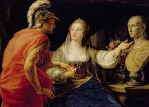 Cleopatra showing Octavius the bust of Julius Caesar by Pompeo Girolamo Batoni