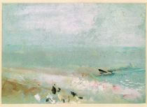 Beach with figures and a jetty. c.1830 by Joseph Mallord William Turner