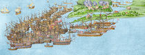 The French fleet becalmed and the attack on the Isle of Wight von James Basire
