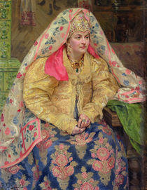 Woman in Old Russian Dress by Ivan Semyonovich Kulikov