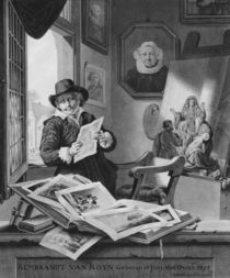 Rembrandt in his studio by Jan Stolker