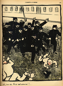 A police brigade charges a group of demonstrators by Felix Edouard Vallotton