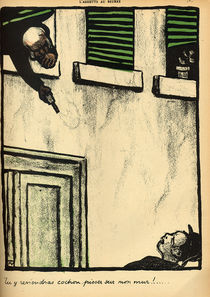 A bourgeois fires from his window on a passerby by Felix Edouard Vallotton