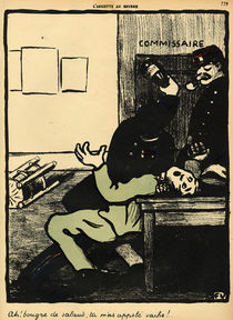 A policeman hits a man with a bottle in a police station by Felix Edouard Vallotton
