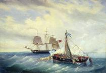 Battle between the Russian ship Opyt and a British frigate von Leonid Demyanovich Blinov
