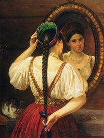 A girl at the mirror, 1848 von Philipp Osipovich Budkin
