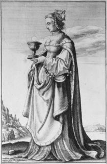 St. Barbara, etched by Wenceslaus Hollar von Hans Holbein the Younger
