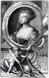 Anne Boleyn, engraved by Jacobus Houbraken von Hans Holbein the Younger