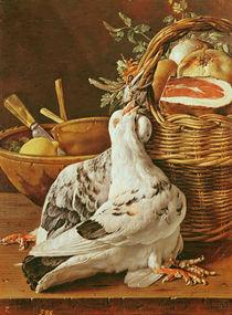 Still Life with pigeons, wicker basket by Luis Egidio Melendez