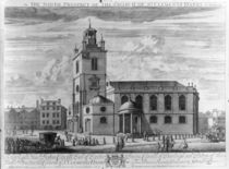 The South Prospect of the Church of St. Clements Danes by Johannes Kip