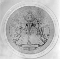 Design for the obverse of Queen Elizabeth I's Great Seal of Ireland by Nicholas Hilliard