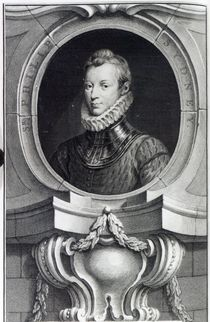Sir Philip Sidney, engraved by Jacobus Houbraken by Isaac Oliver