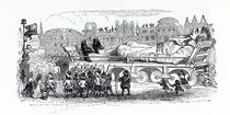 Gulliver being transported to the Lilliputian capital von Grandville