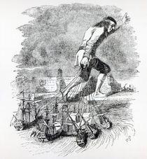 Gulliver stealing the Blefuscudian fleet by Grandville