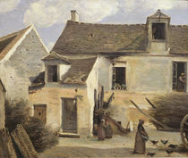 Courtyard of a bakery near Paris von Jean Baptiste Camille Corot
