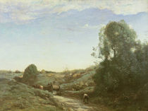 La Charette, memory of Marcoussis by Jean Baptiste Camille Corot