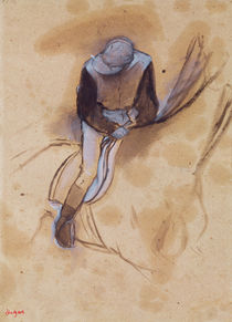 Jockey flexed forward standing in the saddle von Edgar Degas