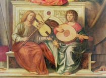 Detail of angel musicians from a painting of the Virgin and saints von Giovanni Battista Cima da Conegliano