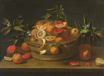Still life with lemon, orange and pomegranate by French School