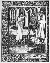 The Lady of the Lake telleth Arthur of the sword Excalibur von Aubrey Beardsley