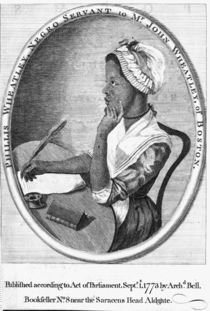 Phillis Wheatley, frontispiece to her 'Poems on various subjects' by English School