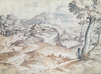 Wooded landscape with village and church by Titian