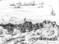 The Swan Theatre on the Bankside as it appeared in 1614 von English School