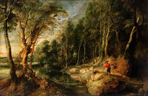 A Shepherd with his Flock in a Woody landscape by Peter Paul Rubens