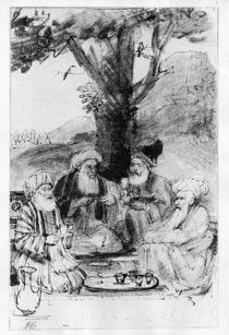 Four orientals seated under a tree von Rembrandt Harmenszoon van Rijn