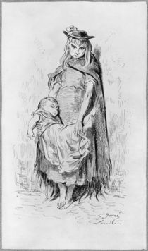 Poor girl with a child in London von Gustave Dore